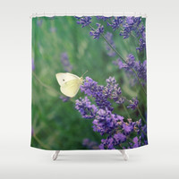 Lavender Butterfly Shower Curtain by RDelean