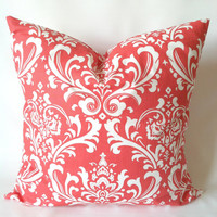 Coral Navy Pillow Covers - 20 x 20, Set of Two, Damask Solid Pillows, Cushion Covers, Modern Decor, Nautical Pillows, Cushions, Beach Decor