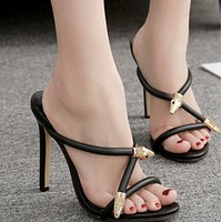Hot style crossed sexy high-heeled shoes with metallic embellished fish beaks shoes