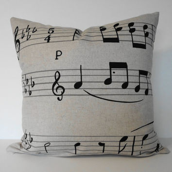 Musical Notes Decorative  Linen Pillow Cover in Natural and Black 16x16, 18 x 18, Piano