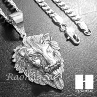 316L Stainless steel Silver Bling King Lion w/ 5mm Cuban Chain SG7