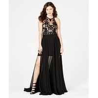 B Darlin Juniors Sleeveless Beaded and Embroidered Gown, 3-4 Black and Nude