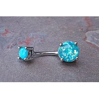 Belly Button Rings Teal Opal Belly Button Rings Opal Belly Rings