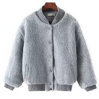 Cuff Sleeve Buttoned Faux Fur Jacket