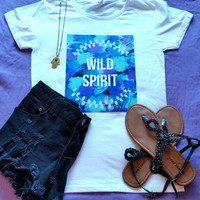 Wild spirit t-shirt available in white or black size xs, s, med, large, and Xl for juniors girls and women