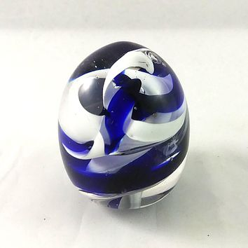 Handmade Art Glass Easter Egg Paperweight, Blue and White