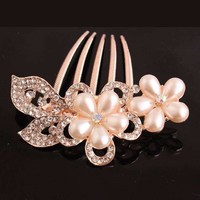 Bouquet Crystal and Pearl Flower Gold Plated Hair Comb