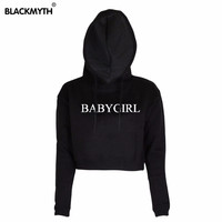 Women New BABYGIRL Fashion Letters Printed Short Black White Crewneck Hoodies Sweatshirt Long Sleeve Crop Tops
