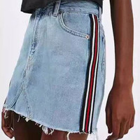 Blue High Waist Contrast Stripe Denim Mini Skirt