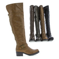 Capture04 Over The Knee zip Up Studded Lug Sole Moto Boots