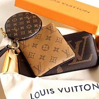 LV Louis Vuitton Three-piece Printed Letter Key Case Clutch Cosmetic Bag