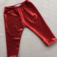 Red shiny infant/toddler leggings, Valentine leggings