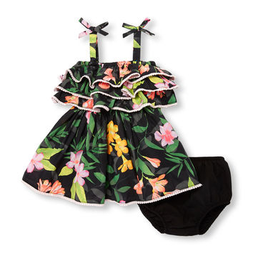 Baby Girls Sleeveless Tropical Floral Print Ruffle Dress And Bloomers Set | The Children's Place