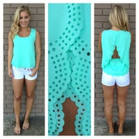 Mint Scallop Cut Sleeveless Blouse