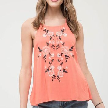 Coral Strappy Embroidered Tank Top