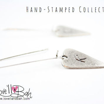 Handstamped Initial Oblong Antique Silver Heart Earrings | Kidney Wire