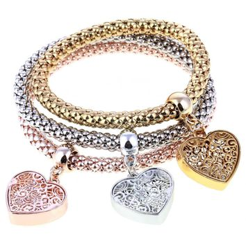 Filigree Heart Austrian Crystal Tri-Color Stretch Bracelet Set