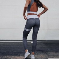 New 2 PCS Women's Sexy Backless Yoga Suit Bra+Pants Sports Fitness Leggings Set Gym Running Sport Workout Clothes For Female