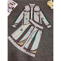 GUCCI New Popular Women Personality Letter Print Lapel Long Sleeve Set Two-Piece Skirt White I13147-1