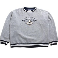 University of Michigan Embroidered Arch & Diamond M Midwest Embroidery Crewneck Sweatshirt Knit Grey (Large)