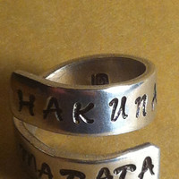 Hakuna Matata - Adjustable Twist Aluminum Ring - Style B - handed stamped ring