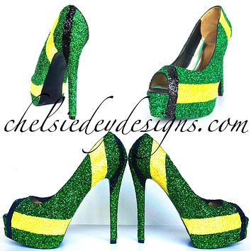 Jamaican Flag Peep Toe Glitter Pumps - Green Yellow Black Open Toe Heels - Jamaica High Heels