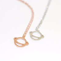 Saturn Planet Minimalist Necklace in Gold or Silver tone with Small Pendant
