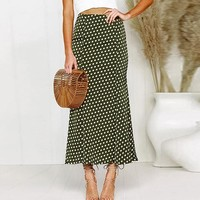 Elegant Polka Dot Satin Skirt Women Casual High Waist Ankle-Length Long Skirt Office Ladies Skirt