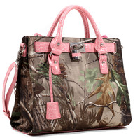 Realtree® Camouflage Satchel with Lock and Tassel Accents