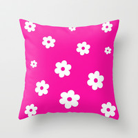 White Flowers On Pink Background Throw Pillow by Pippi Dust