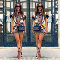 2016 Boho Sexy Women Short Sleeve Party Beach Summer Beach Short Mini Dress