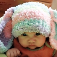 3 to 6m Baby Bunny Hat Baby Beanie Rainbow Crochet Bunny Ears - Baby Girl Hat Flopsy Rabbit Animal Hat Infant Photo Prop
