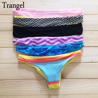 Trangel Brazilian Bikini Bottoms Cheeky Swimwear Bathing Suit Thong tanga Women's Sexy Seamless Reversible Black JD286