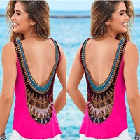 Backless Sleeveless Hollow Out Patchwork Chiffon Blouse