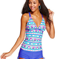 Hula Honey Aztec-Print Racerback Tankini Top & Boyshorts Swim Bottom