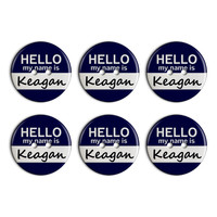 Keagan Hello My Name Is Plastic Resin Button Set of 6