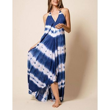 Tie-Dye Halter Dress - Indigo