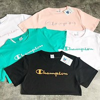 Champion Embroidered Letter Loose Top Short Sleeve T-Shirt F-AA-XDD