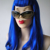 HOLIDAY SALE // Katy Perry hairstyle wig. U bangs wig. Blue color Long straight hair with U shape bangs Synthetic wig.