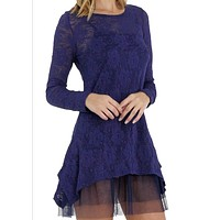Lace Long Sleeve Tunic with Mesh Slip