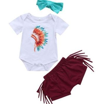 Baby Fringed Feather Romper including Indian Chief Top and Headband