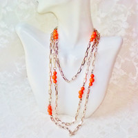 Long Gold Chain Coral Beads Necklace Vintage One Strand Celluloid Orange Beads Flapper Gatsby Hippie Burlesque Mod Style Birthday Halloween