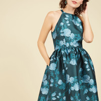Fleurs Truly Fit and Flare Dress in Teal Garden | Mod Retro Vintage Dresses | ModCloth.com