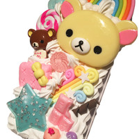 Made to Order! Rilakkuma & Korilakkuma in Candyland Kawaii Whipped Cream Decoden Case