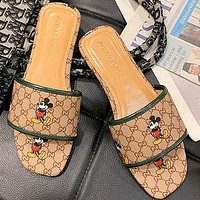 Gucci Mickey Shoes  explosion mouse sandals word Khaki army green edge