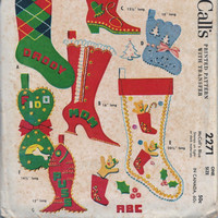 McCall's 2271 Seven Family Christmas Stockings Pets Cowboy Boot Fish Baby First Christmas With Alphabet Uncut Vintage 1950s Holiday Pattern