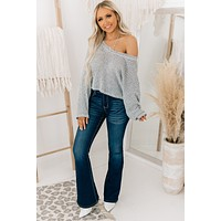 Chances Are High Cropped Knit Sweater (Heather Grey)