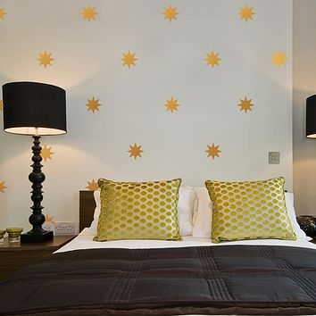 """25 Gold or Silver Metallic 4"""" Eight Point Star Vinyl Wall Decals"""
