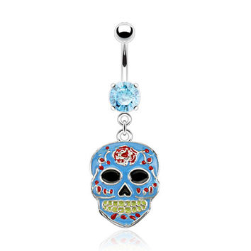 Sugar Skull Belly Ring Blue Navel Ring Body Jewelry Piercing Jewelry 14ga