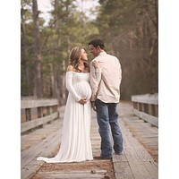 Le Couple Maternity Dress Photo Shoot Maxi Maternity Gown SPLIT FRONT Maternity Chiffon Gown Sexy Maternity Photography Props